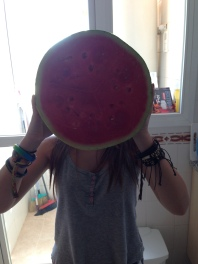 Biggest watermelon we could find in the shops!
